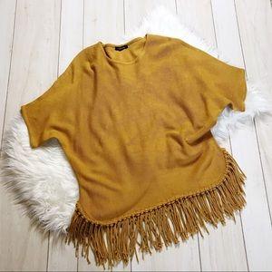 Relativity Mustard Yellow Fringe Trim Sweater